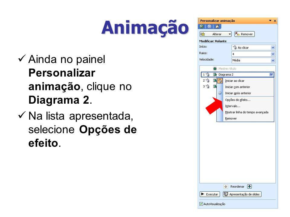 Animação Ainda no painel Personalizar animação, clique no Diagrama 2.