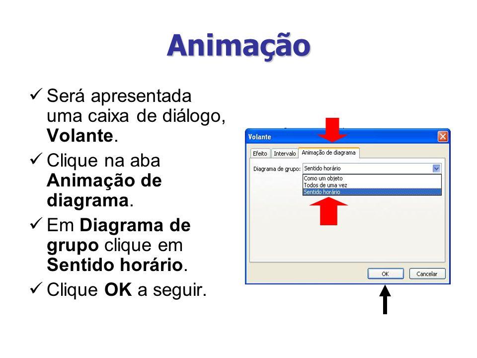 Animação Será apresentada uma caixa de diálogo, Volante.