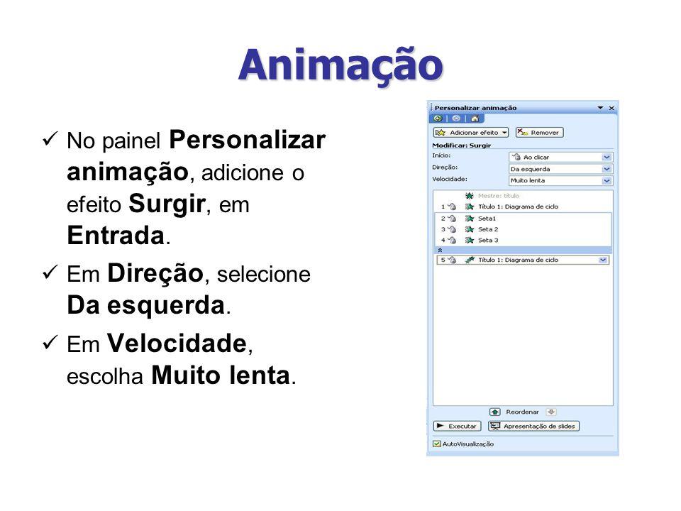 Animação No painel Personalizar animação, adicione o efeito Surgir, em Entrada. Em Direção, selecione Da esquerda.