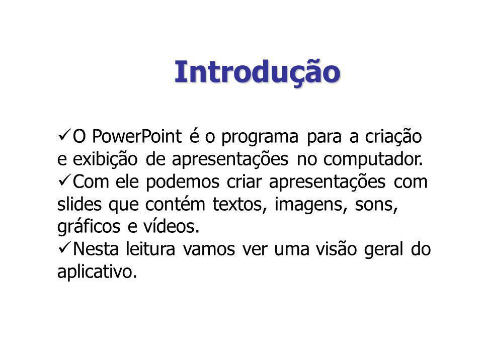Introdução O PowerPoint é o programa para a criação e exibição de apresentações no computador.