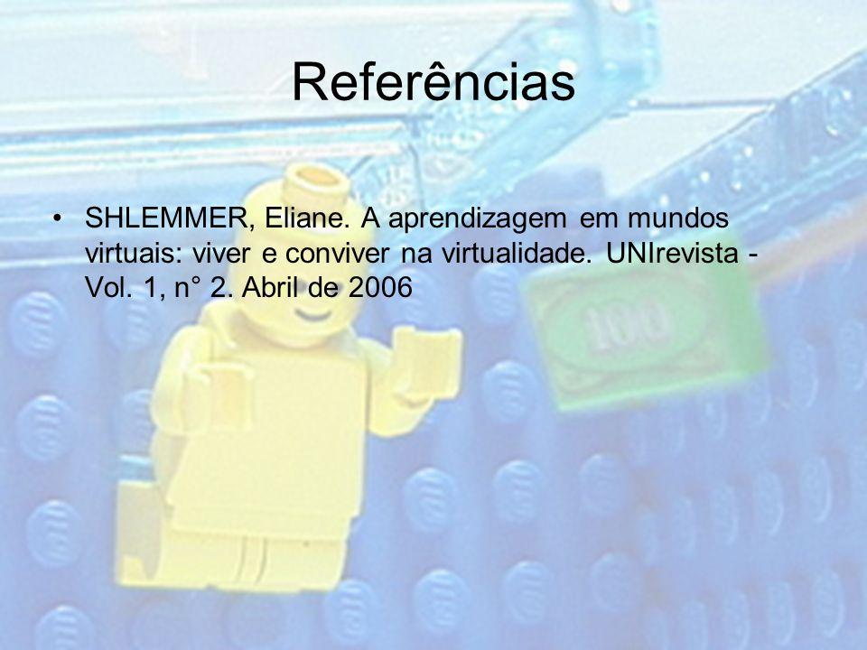 Referências SHLEMMER, Eliane. A aprendizagem em mundos virtuais: viver e conviver na virtualidade.