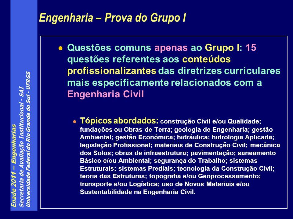 Engenharia – Prova do Grupo I