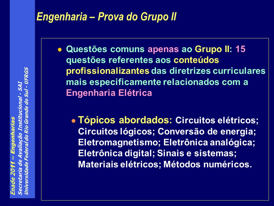 Engenharia – Prova do Grupo II