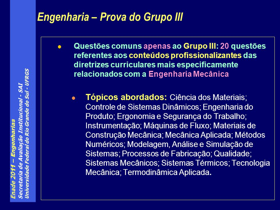 Engenharia – Prova do Grupo III