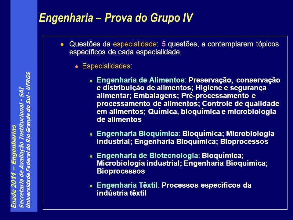 Engenharia – Prova do Grupo IV