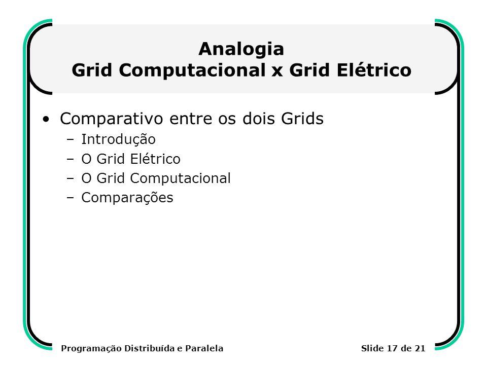 Analogia Grid Computacional x Grid Elétrico