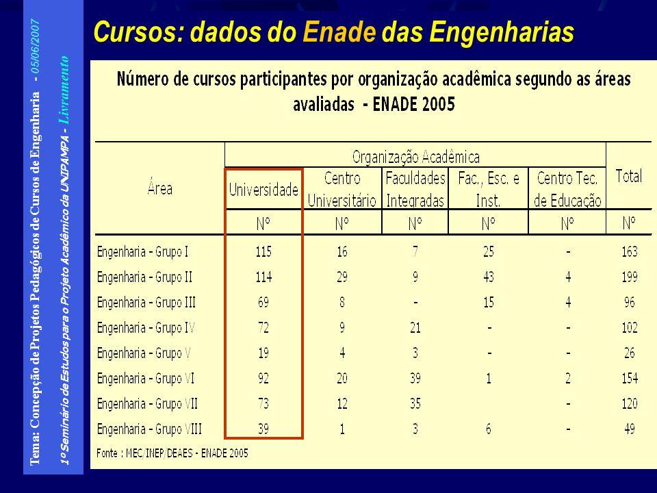 Cursos: dados do Enade das Engenharias