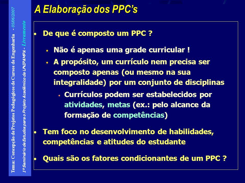A Elaboração dos PPC's De que é composto um PPC