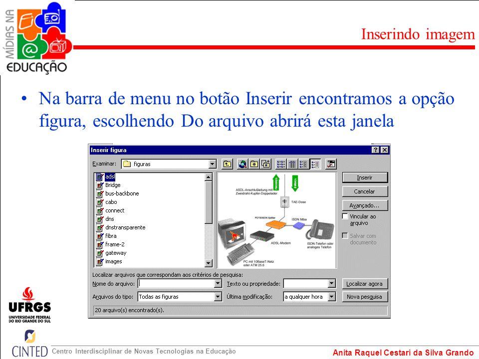 Inserindo imagem Na barra de menu no botão Inserir encontramos a opção figura, escolhendo Do arquivo abrirá esta janela.