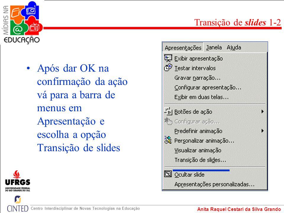 Transição de slides 1-2 Após dar OK na confirmação da ação vá para a barra de menus em Apresentação e escolha a opção Transição de slides.