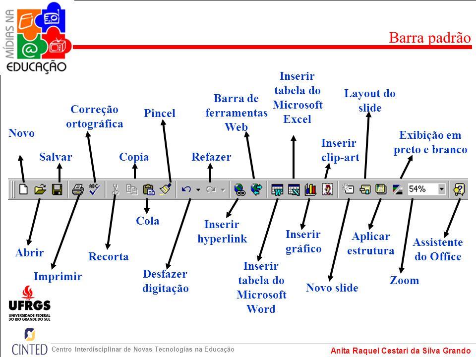 Barra padrão Inserir tabela do Microsoft Excel Layout do slide