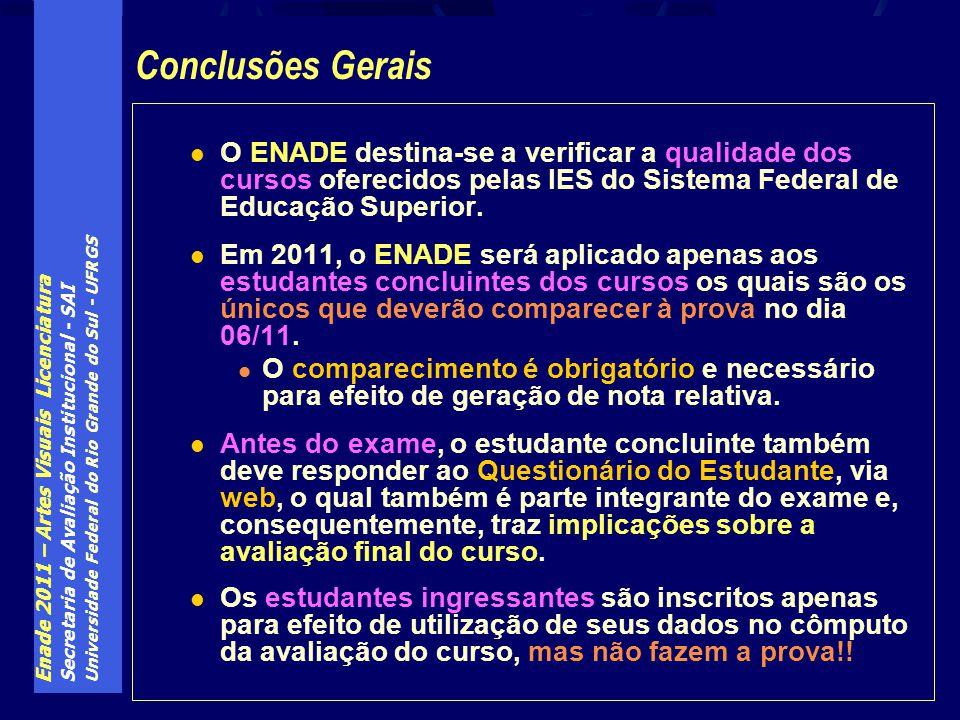 Conclusões Gerais O ENADE destina-se a verificar a qualidade dos cursos oferecidos pelas IES do Sistema Federal de Educação Superior.