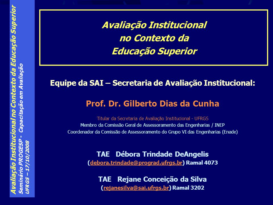 Avaliação Institucional no Contexto da Educação Superior