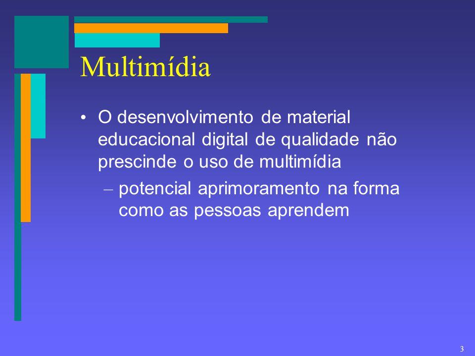 Multimídia O desenvolvimento de material educacional digital de qualidade não prescinde o uso de multimídia.