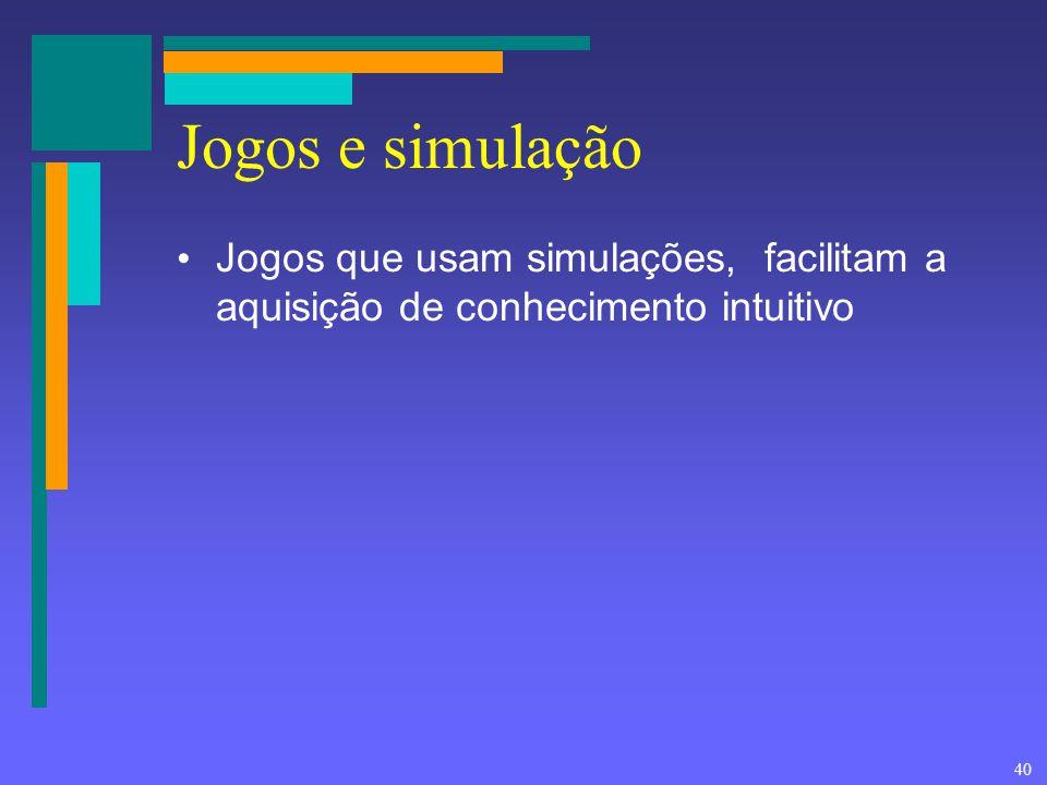 Jogos e simulação Jogos que usam simulações, facilitam a aquisição de conhecimento intuitivo
