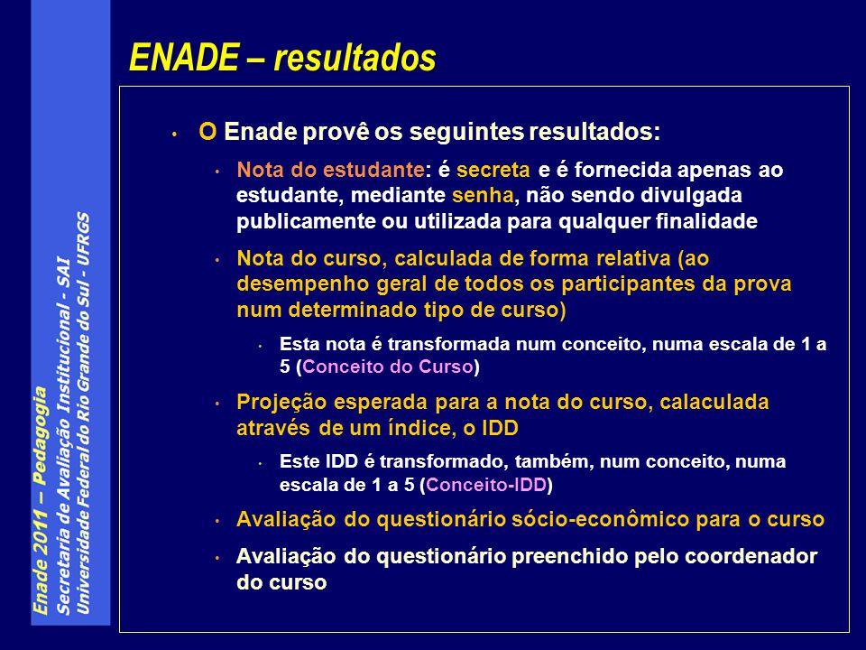 ENADE – resultados O Enade provê os seguintes resultados: