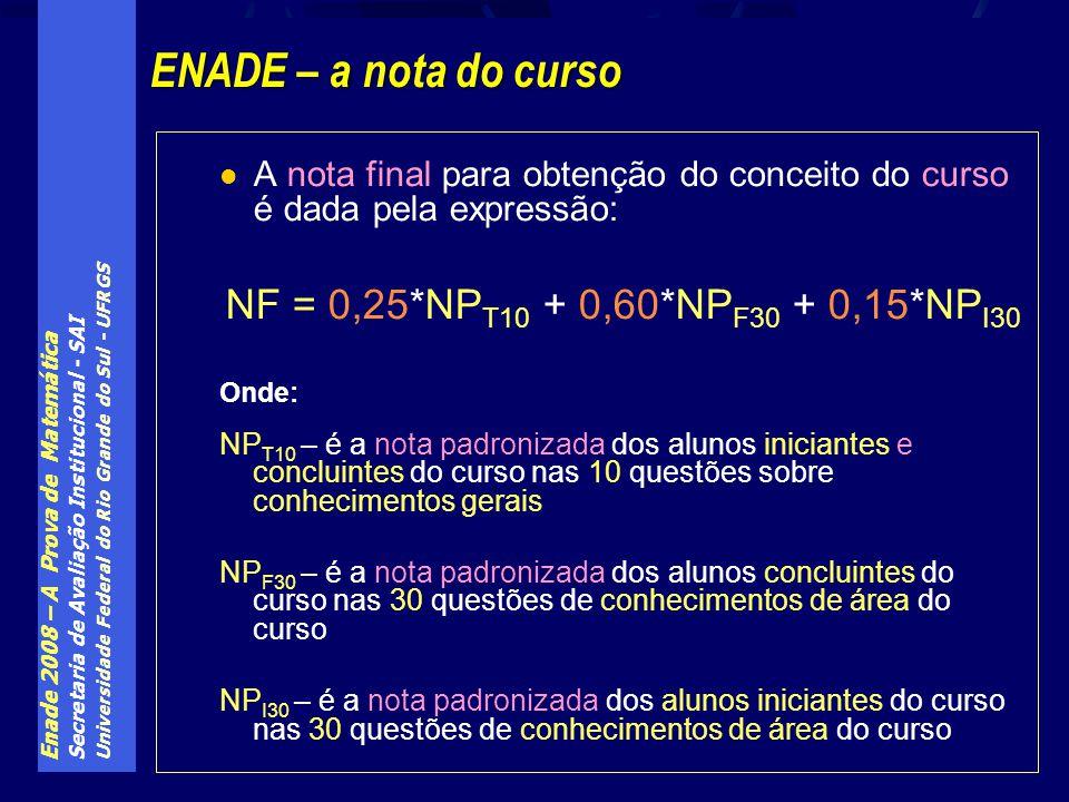 ENADE – a nota do curso NF = 0,25*NPT10 + 0,60*NPF30 + 0,15*NPI30