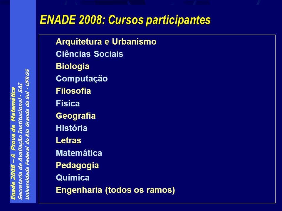 ENADE 2008: Cursos participantes