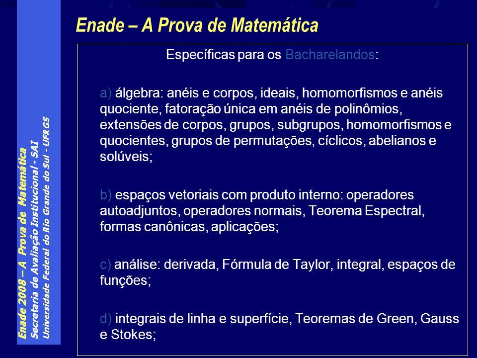 Enade – A Prova de Matemática