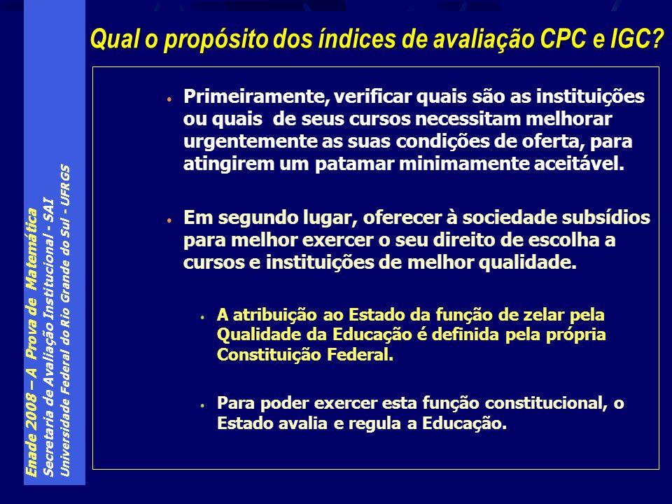 Qual o propósito dos índices de avaliação CPC e IGC
