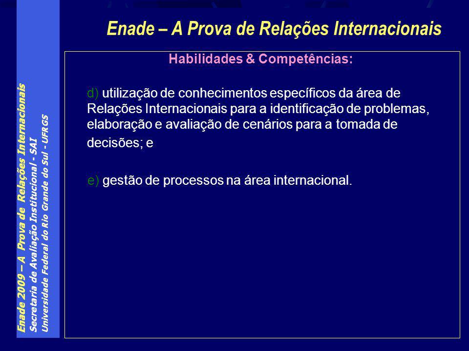 Enade – A Prova de Relações Internacionais Habilidades & Competências: