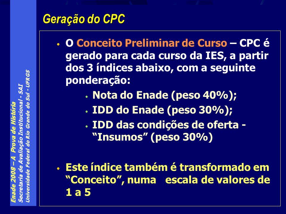Geração do CPC O Conceito Preliminar de Curso – CPC é gerado para cada curso da IES, a partir dos 3 índices abaixo, com a seguinte ponderação: