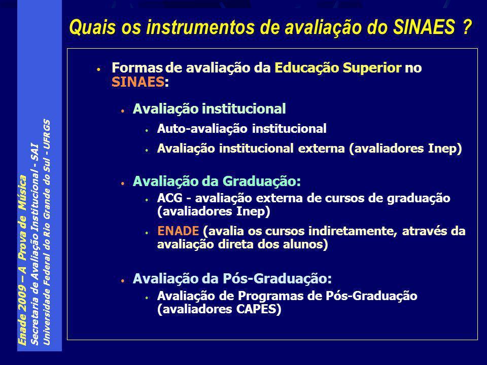 Quais os instrumentos de avaliação do SINAES