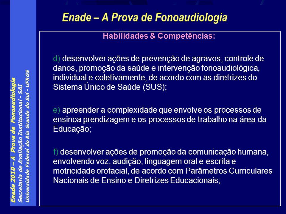 Enade – A Prova de Fonoaudiologia Habilidades & Competências: