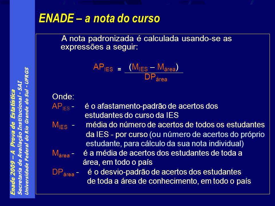ENADE – a nota do curso A nota padronizada é calculada usando-se as expressões a seguir: APIES = (MIES – Márea)