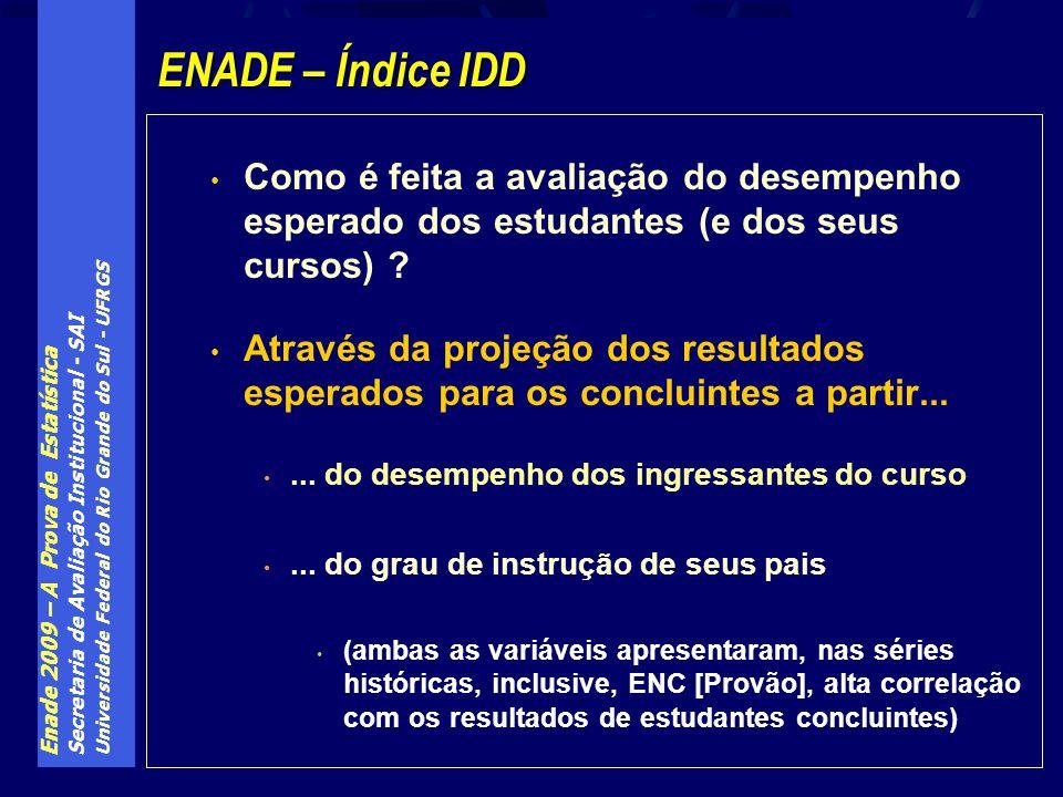 ENADE – Índice IDD Como é feita a avaliação do desempenho esperado dos estudantes (e dos seus cursos)