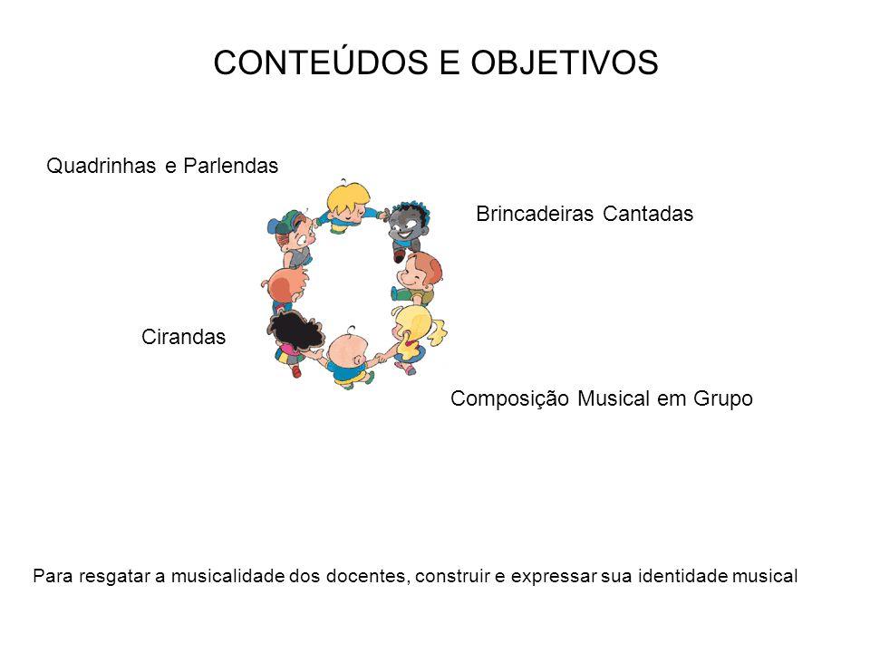 CONTEÚDOS E OBJETIVOS Quadrinhas e Parlendas Brincadeiras Cantadas
