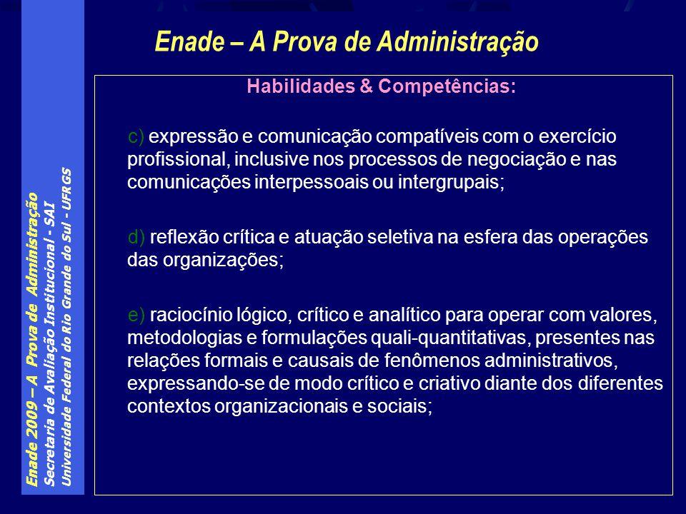 Enade – A Prova de Administração Habilidades & Competências: