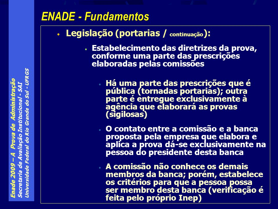 ENADE - Fundamentos Legislação (portarias / continuação):