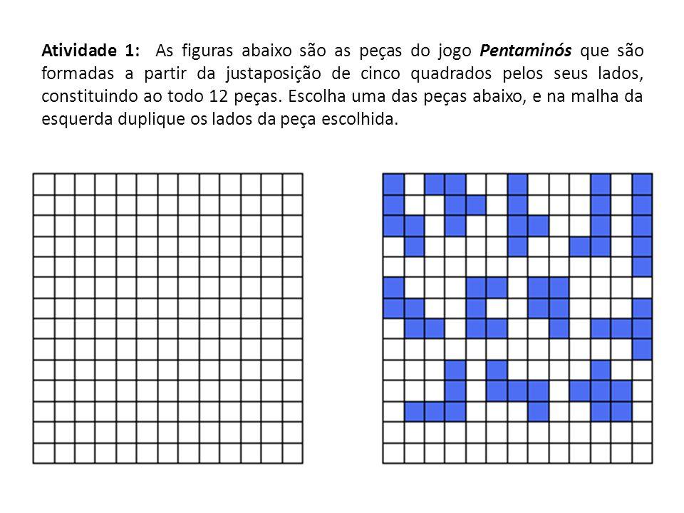 Atividade 1: As figuras abaixo são as peças do jogo Pentaminós que são formadas a partir da justaposição de cinco quadrados pelos seus lados, constituindo ao todo 12 peças.