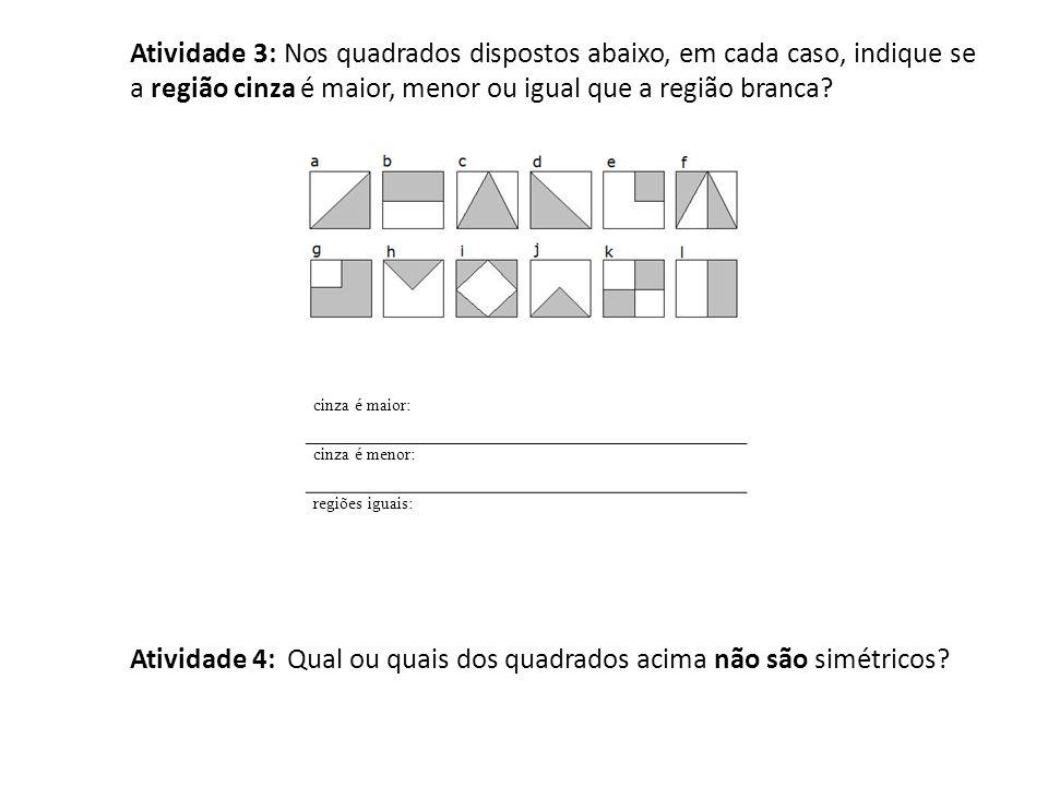 Atividade 4: Qual ou quais dos quadrados acima não são simétricos