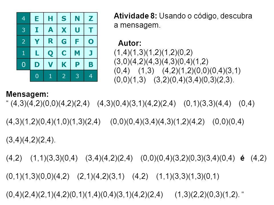 Atividade 8: Usando o código, descubra a mensagem.