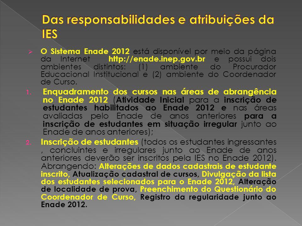 Das responsabilidades e atribuições da IES