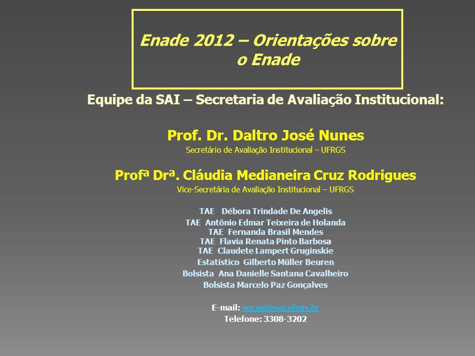 Enade 2012 – Orientações sobre o Enade