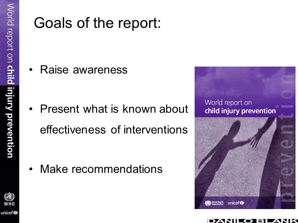 Goals of the report: Raise awareness Present what is known about