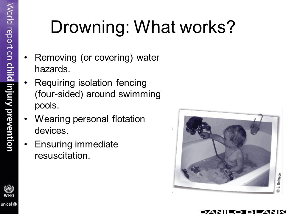 Drowning: What works Removing (or covering) water hazards.