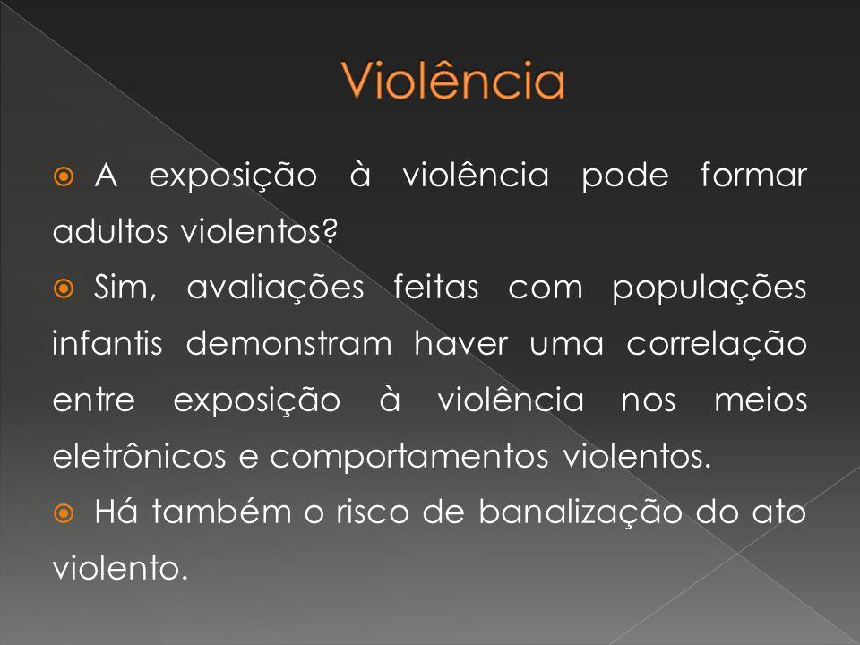 Violência A exposição à violência pode formar adultos violentos