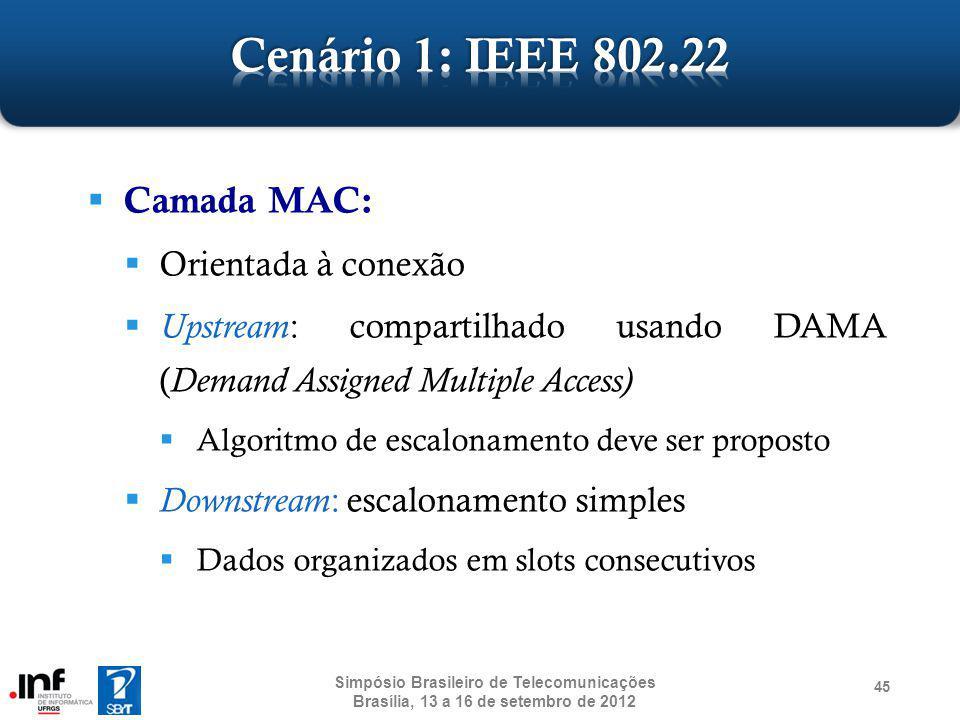 Cenário 1: IEEE 802.22 Camada MAC: Orientada à conexão