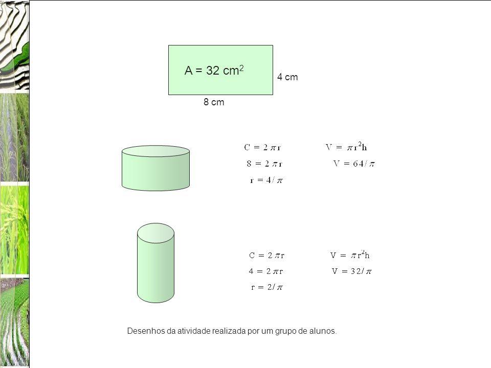 A = 32 cm2 4 cm 8 cm Desenhos da atividade realizada por um grupo de alunos.