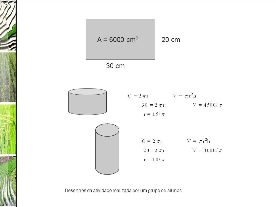 A = 6000 cm2 20 cm 30 cm Desenhos da atividade realizada por um grupo de alunos