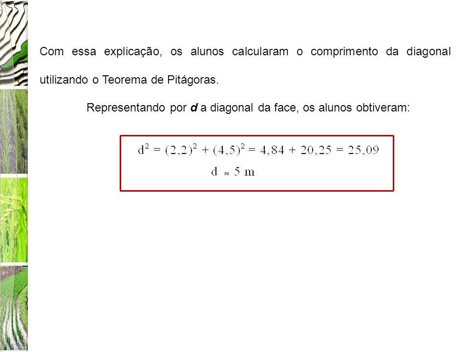 Com essa explicação, os alunos calcularam o comprimento da diagonal utilizando o Teorema de Pitágoras.