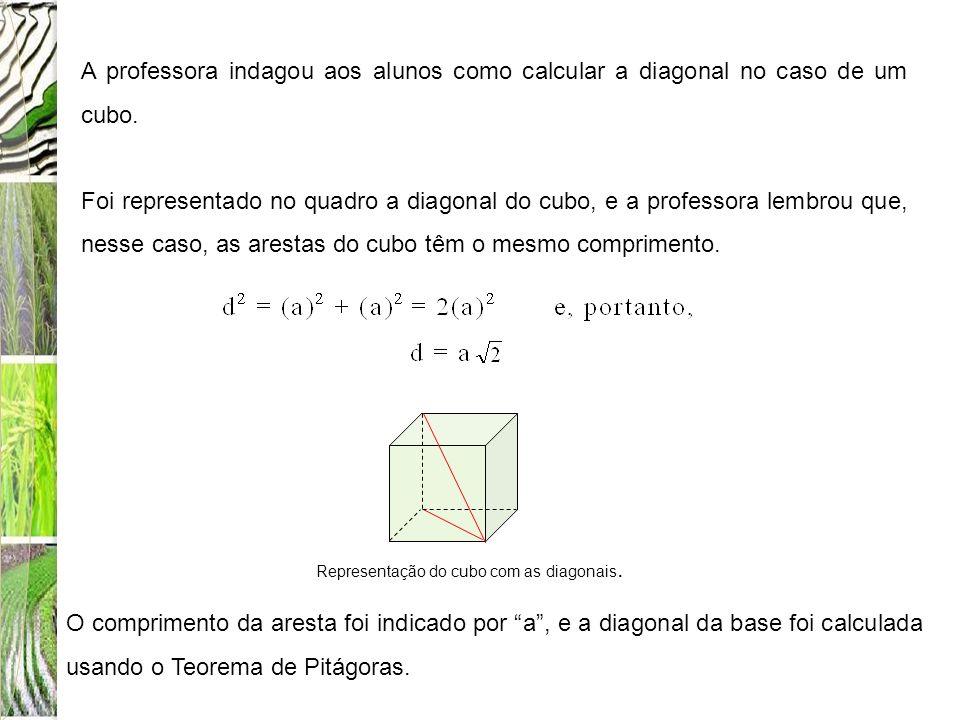 A professora indagou aos alunos como calcular a diagonal no caso de um cubo.