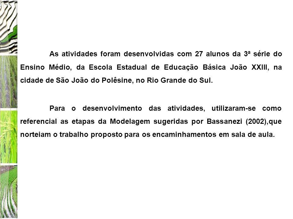 As atividades foram desenvolvidas com 27 alunos da 3ª série do Ensino Médio, da Escola Estadual de Educação Básica João XXIII, na cidade de São João do Polêsine, no Rio Grande do Sul.