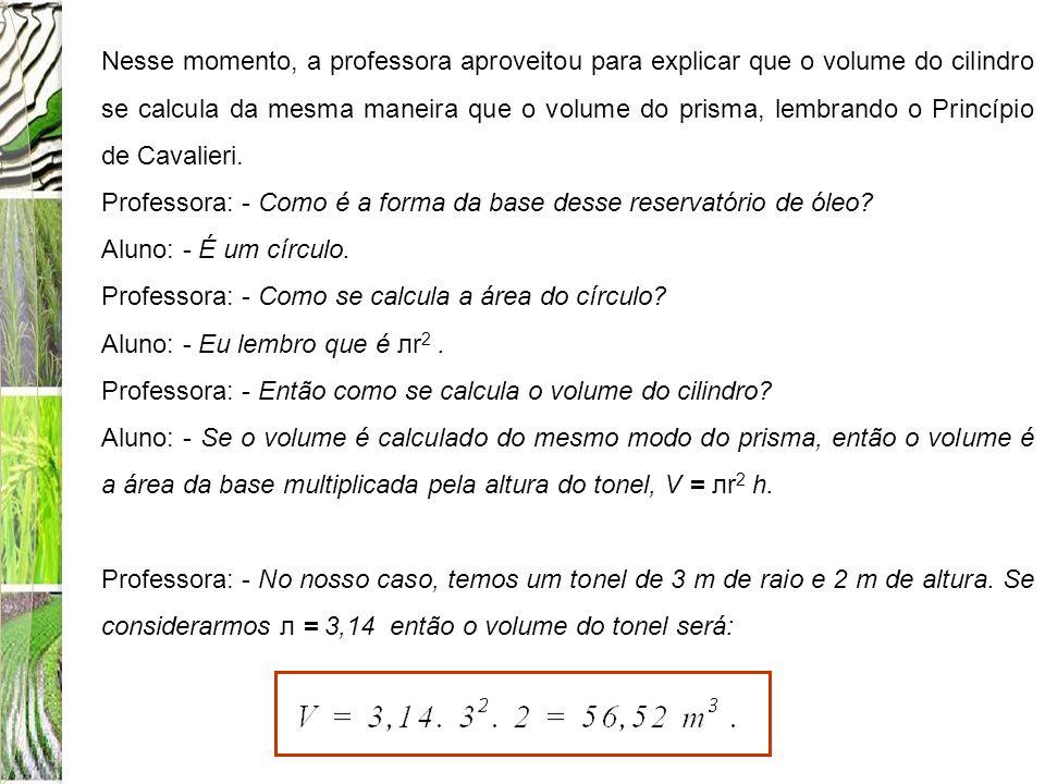 Nesse momento, a professora aproveitou para explicar que o volume do cilindro se calcula da mesma maneira que o volume do prisma, lembrando o Princípio de Cavalieri.