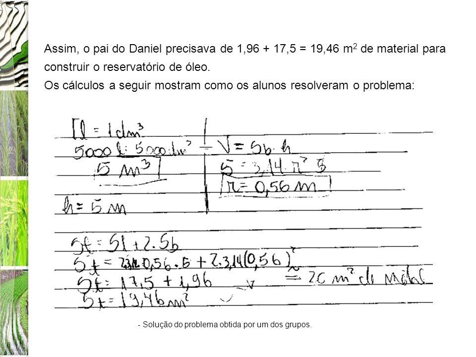 Os cálculos a seguir mostram como os alunos resolveram o problema: