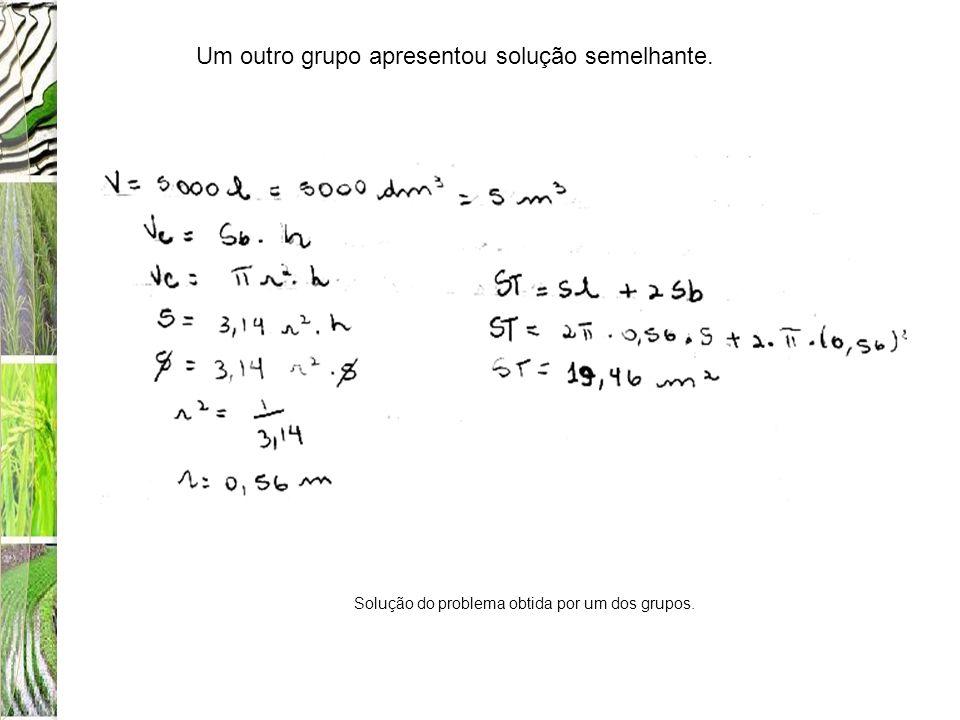 Solução do problema obtida por um dos grupos.